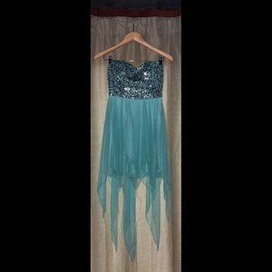 Teal Hi-Lo Gown
